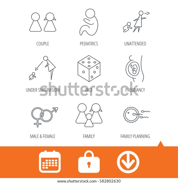 Pregnancy, pediatrics and family planning icons. Under supervision, unattended and baby child linear signs. Dice, male and female icons. Download arrow, locker and calendar web icons. Vector