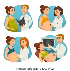 Pregnancy / Pregnant woman and doctor / Medical prenatal care checkup screening and test / healthcare / Vector cartoon illustration / People set