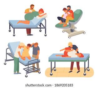 La préparation de la grossesse, la femme et le mari font un contrôle de poste dans différentes poses. Faire de l'exercice pour une femme enceinte, donner sa position de naissance ou sa posture. Personnalité féminine attendant l'accouchement avec un homme soignant