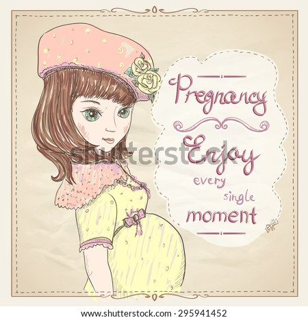 Pregnancy Quotes Card Enjoy Every Single Stock Vector Royalty Free