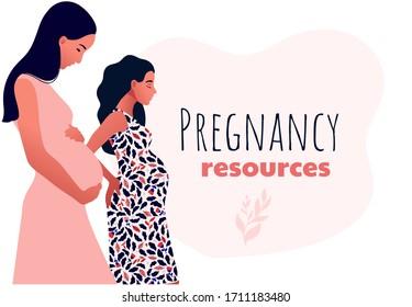 Pregnancy resources type. Sad pregnant female characters. Slim pregnant women. Sad pregnant female characters. Problem pregnancy. Flat cartoon vector illustration