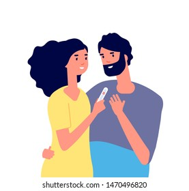 Pregnancy test. Happy young couple looking at pregnancy test showing two line. Family planning healthcare vector concept. Medical test, pregnancy woman show test man illustration