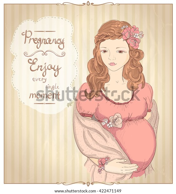 Pregnancy Vintage Style Quotes Card Enjoy | Royalty-Free ...