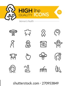 Pregnancy and women health line icons series