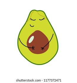 pregnant avocado. vector vegetable icon.