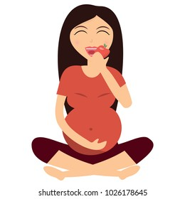 A pregnant beautiful girl eats an apple after training. Fitnes for pregnant women. Healthy pregnancy. Healthy food. Healthy way of life. Vector illustration