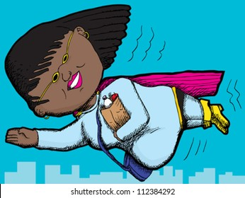 Pregnant Black woman with groceries flying in the sky
