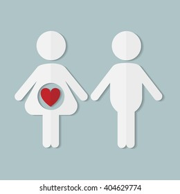 Pregnant couple in love, vector flat paper icon
