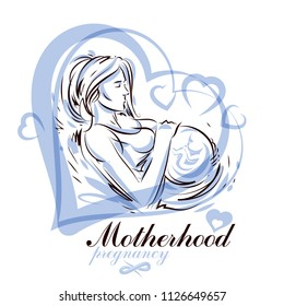 Pregnant female beautiful body outline, mother-to-be drawn vector illustration. Prenatal center and motherhood preparing clinic promotion flyer