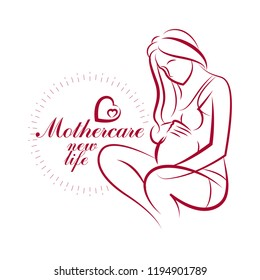 Pregnant female beautiful body outline, mother-to-be drawn vector illustration. Gynecology and pregnancy medical care clinic promotion leaflet