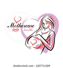 Pregnant female beautiful body outline, mother-to-be drawn vector illustration. Obstetrics and gynecology clinic advertising banner