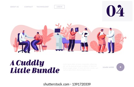 Pregnant Female Character at Doctor Appointment. Medical Check Up, Ultrasound, Measuring Belly, Listening Baby Heart. Pregnancy Website Landing Page, Web Page. Cartoon Flat Vector Illustration, Banner
