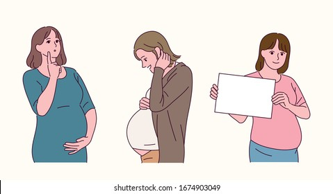 Pregnant female character. Women thinking, looking at the boat, holding a white board. hand drawn style vector design illustrations.