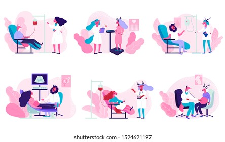 Pregnant Female Characters. Medical Check Up, Ultrasound, Measuring Belly, Listening Baby Heart. Healthy Pregnancy, Women Waiting Newborn Baby. Donating Blood. Donation, World Blood Donor Day