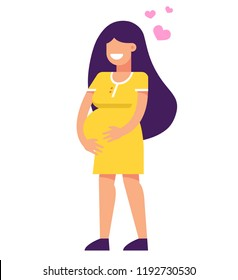 pregnant girl is smiling. holds hands by the abdomen. vector illustration