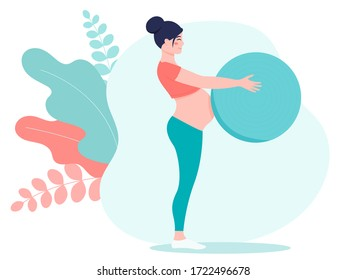 Pregnant girl in a sports suit with a fitball. The concept of a healthy pregnancy and sports. Cartoon vector flat style illustration for web site or mobile application.