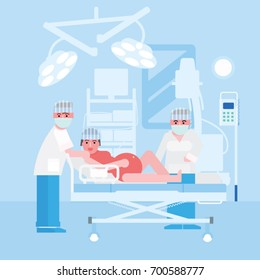 Pregnant giving birth in hospital with the doctors. Childbirth vector illustration