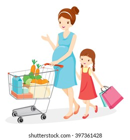 Pregnant Mom And Daughter Shopping Together, Retail, Cart, Buying, Pushcart, Trolley