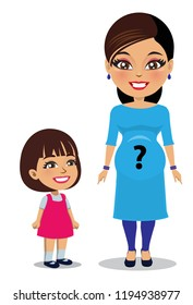 A pregnant mother wearing a salwar kameez suit is standing next to her child. There is a question mark on her tummy as the gender of the child is unknown.
