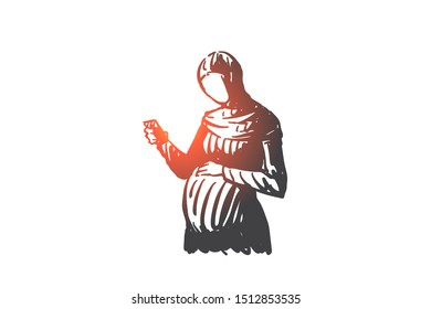 Pregnant muslim woman concept sketch. Hand drawn isolated vector