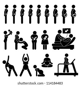 Pregnant Pregnancy Stages Process Prenatal Development Mother Baby Exercise Stick Figure Pictogram Icon
