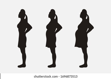pregnant silhouette set month stages