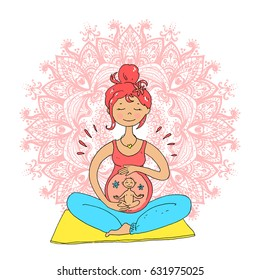 Pregnant tanned woman in lotus position against mandala background. Cute cartoon style. Color illustration. Ohm. Vector illustration. Central composition.