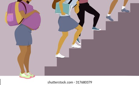 Pregnant teenage girl standing at the bottom of stairs, other teens going up, vector illustration, EPS 8