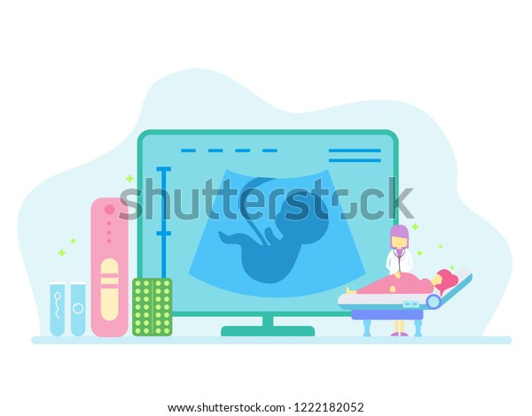 Pregnant Usg People Concept Wallpaper Banner Stock Vector Royalty Free 1222182052