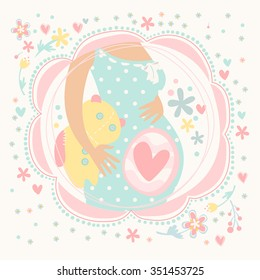 Pregnant woman with baby inside, happy child. Postcard hand-drawn vector illustration