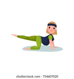 Pregnant woman character doing exercise, cat-cow pose with raised leg up. Yoga for pregnant, physical activity. Fitness and health care. Expectant mother. Pregnancy time. Motherhood. Flat vector.