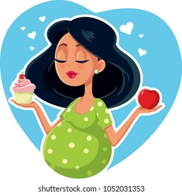 Pregnant Woman Choosing Between Apple and Cupcake. Cute mother to be craving for healthy and unhealthy foods