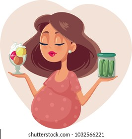 Pregnant Woman Choosing Between Ice Cream and Pickles Cartoon Illustration. Cute mother to be craving for sweet or sour food options
