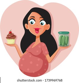 Pregnant Woman Craving Cupcake and Pickles Vector CartooCute mother to be experiencing cravings for sweet and sour