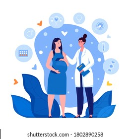 Pregnant woman at the doctor's appointment. Maternity hospital, Maternal and perinatal health, Preservation of pregnancy. Vector. Illustration in flat cartoon style.