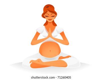 Pregnant woman doing some yoga.  vector based illustration