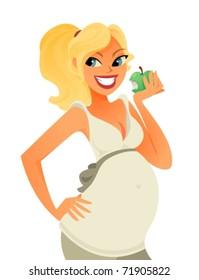 Pregnant woman eating an apple