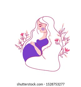 Pregnant Woman Feeling Baby Kick Vector Illustration. Expecting protective young girl holding her baby bump