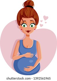 Pregnant Woman Feeling Baby Kicking Illustration. Beautiful mother to be ready to experience motherhood
