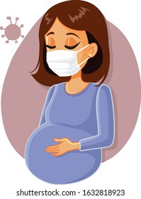 Pregnant Woman Fighting Virus Wearing Medical  Face Mask. Young mother to be feeling ill from viral influenza disease