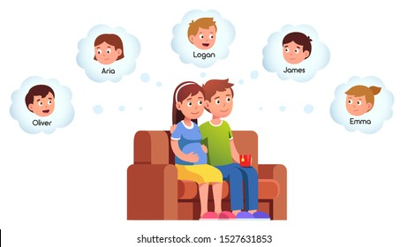 Pregnant woman & her husband sitting on couch & picking perfect name for unborn baby. Young couple family expecting child & choosing from possible children names. Flat vector isolated illustration