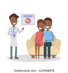 Pregnant woman and her husband visiting doctor in a hospital. Couple sitting on the couch and listening to the doctor. Consultation with specialist. Isolated flat vector illustration