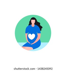 Pregnant woman icon in modern vanguard simplistic style. Prenatal clinic sign. Editable vector illustration in bright pink, blue, green vibrant colors. Medical, healthcare, childbearing concept.