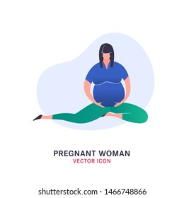 Pregnant woman icon in modern vanguard simplistic style. Prenatal clinic sign. Editable vector illustration in bright blue and green vibrant colors. Medical, healthcare, childbearing concept.