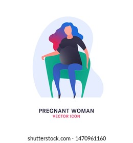 Pregnant woman icon in modern vanguard simplistic style. Prenatal clinic sign. Editable vector illustration in bright pink, blue, grey, green vibrant colors. Medical, healthcare, childbearing concept