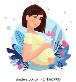 Pregnant woman  isolated on white. Vector illustration. Cute pregnant woman caressing her belly