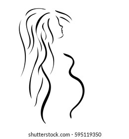 Pregnant woman with long hairs isolated on white background. New life origin. Sign magazine for pregnant women, clothes shop. Maternity hospital logo, stylized vector symbol.