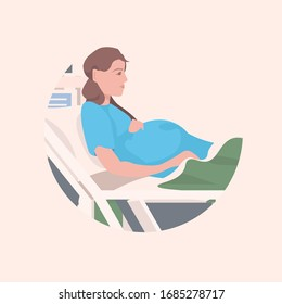 pregnant woman lying in hospital bed before childbirth maternity pregnancy concept portrait vector illustration