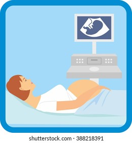 Pregnant woman lying on the couch. Vector illustration of a pregnant doing ultrasonography.