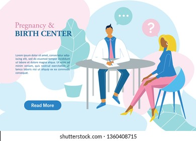 Pregnant woman in the maternity hospital talking with gynecologist vector banner. Female having consultation in the pregnancy and birth center.